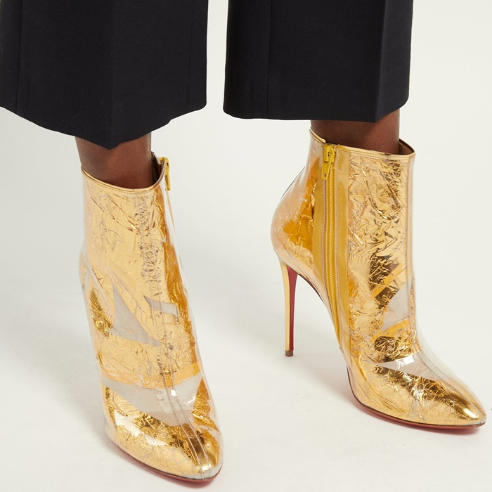 Fans of Christian Louboutin will recognize the 'Trash' technique used to make these ankle boots