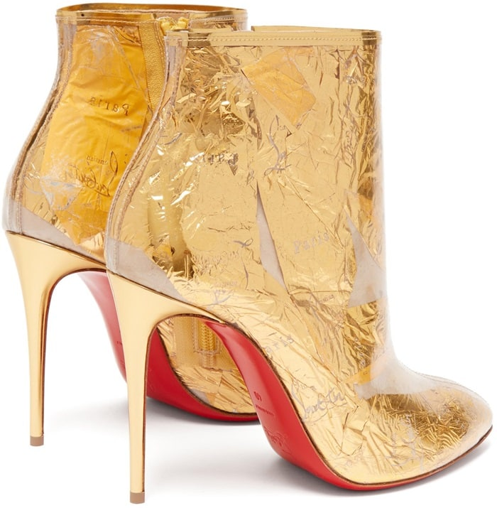 To craft each pair, artisans in Italy carefully fold and twist gold foil so it catches the light