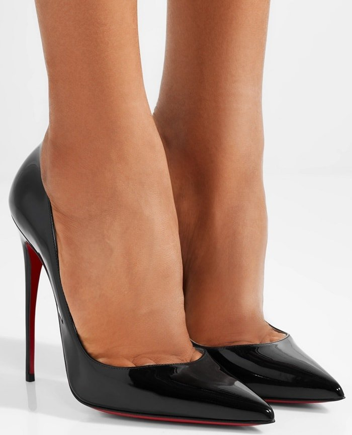 Set on a sky-high, thin stiletto, this 'So Kate' pair has a dramatic arch and sleek pointed toe