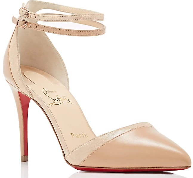Crafted of beige nappa leather and suede lamé, Christian Louboutin's Uptown-Double pumps feature a pointed toe and a leg-lengthening stiletto heel