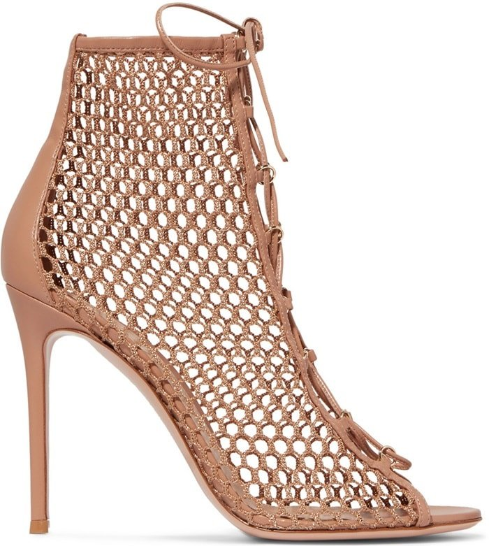 This pair is made from fishnet and set on a 105mm stiletto heel