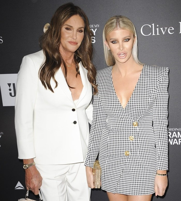 Caitlyn Jenner flaunted cleavage in a white lace bra underneath a white blazer