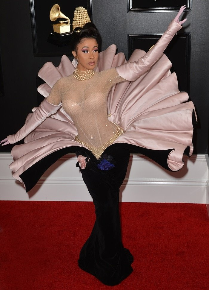 Cardi B's pearl-embellished clam-oyster dress from Mugler's Fall 1995 Couture Collection