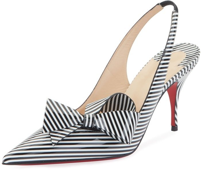 Revelation of an almost hypnotic illusion, the Clare Nodo pointy-toe pump is covered in black and white striped patent leather and adjusts with an elastic slingback strap on an 80mm stiletto heel