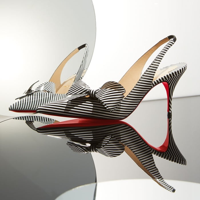 Clare Nodo Striped Side-Bow Red Sole Slingback Pumps