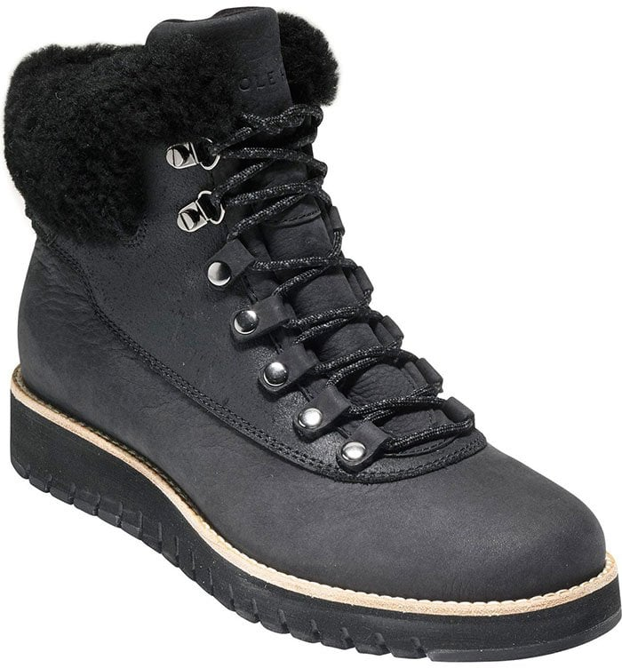 Innovative design and comfort stand between you and harsh weather in these urban-explorer boots with a waterproof exterior and plush, naturally warm shearling trim
