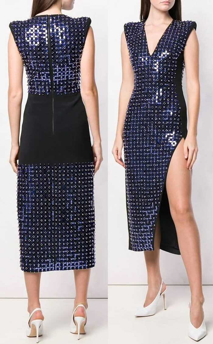 Blue Plexi beaded dress from David Koma featuring a deep V neck, a long length, mirror patch appliqués, structured shoulders, a side slit, a sleeveless design and a back zip fastening