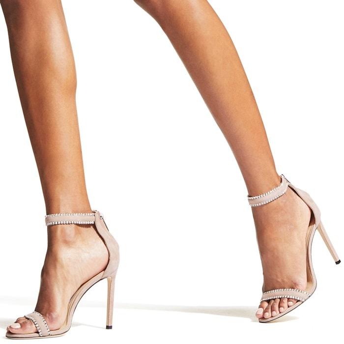 Dochas 100 Ballet Pink Open Toe Sandal with Jewel Trim