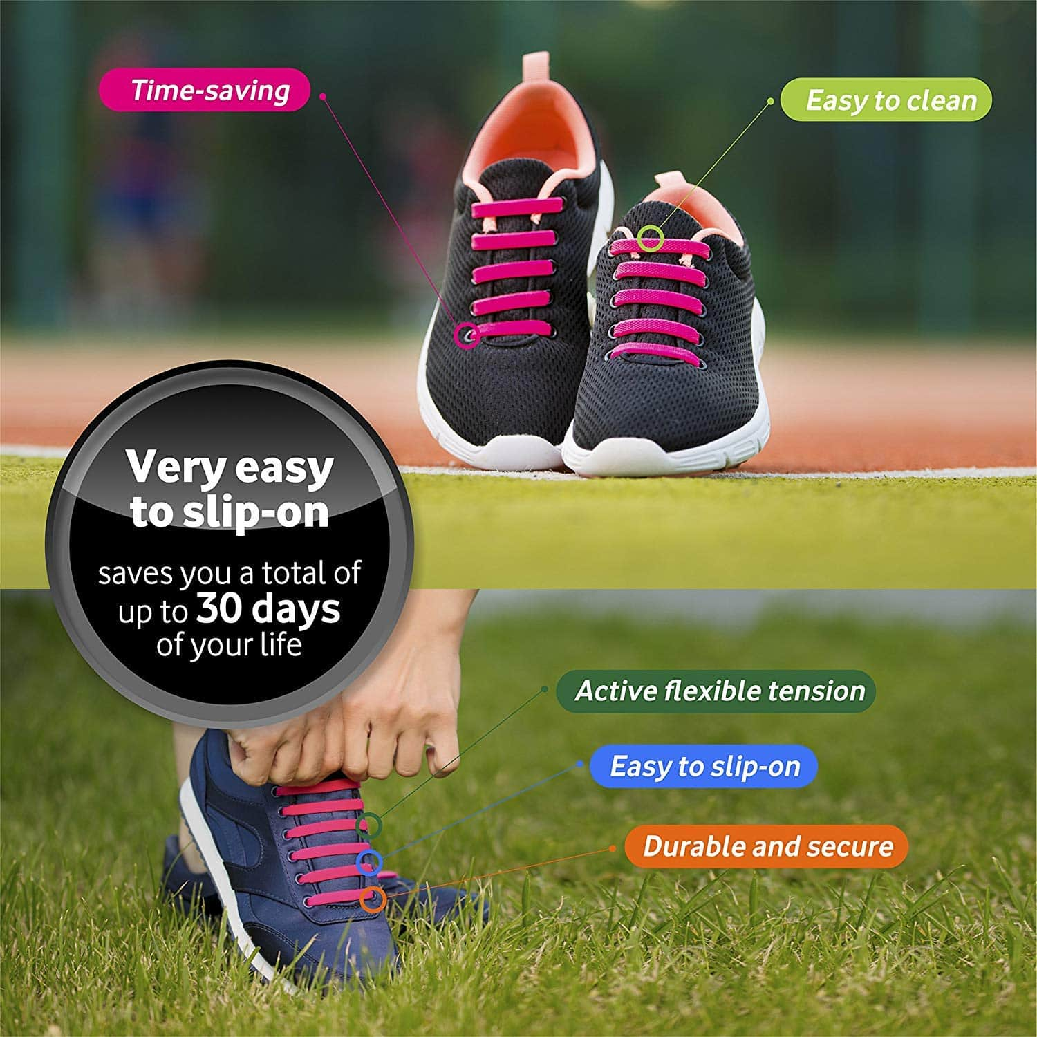 Diagonal One No Tie Shoelaces for Kids & Adults