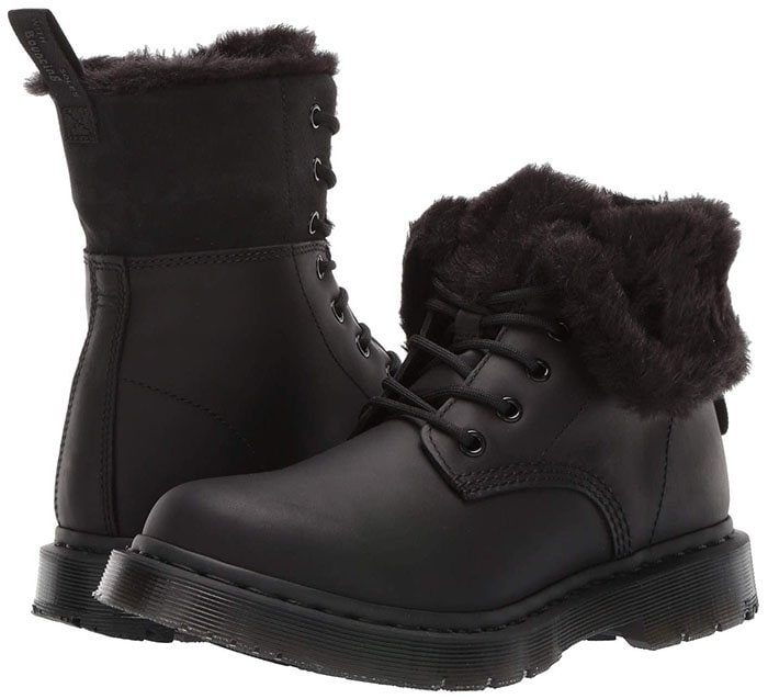 Brave the winter city streets with the warm and cozy Dr. Martens 1460 Kolbert Wintergrip boot