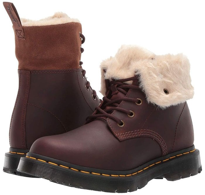 Faux-fur trim adds a hint of arctic intrigue to a lace-up boot that's a workwear classic