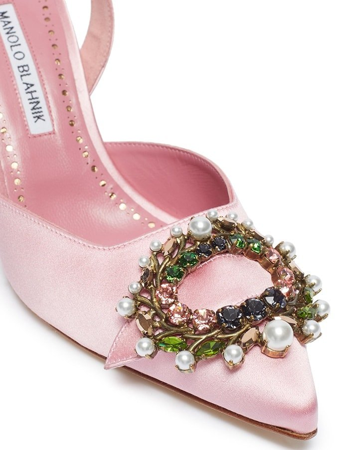 Manolo Blahnik paves the way for the return of refined, feminine styling through these Slita 70 slingback pumps