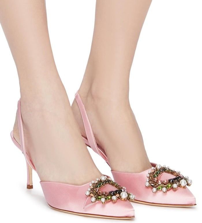 Crafted from silky satin, this pair is topped with an embellished brooch, inspired by the laurel leaves found in the story of Apollo and Daphne