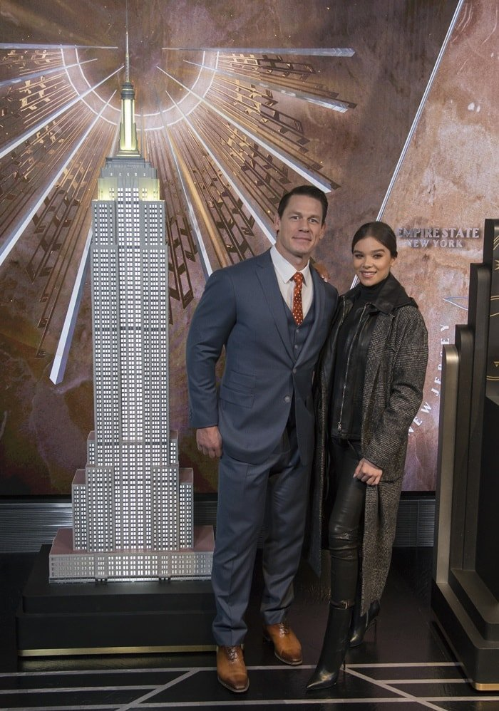 Hailee Steinfeld and her Empire State Building co-star John Cena