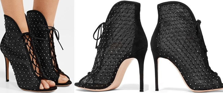 Embellished Suede-Trimmed Mesh Ankle Boots by Gianvito Rossi