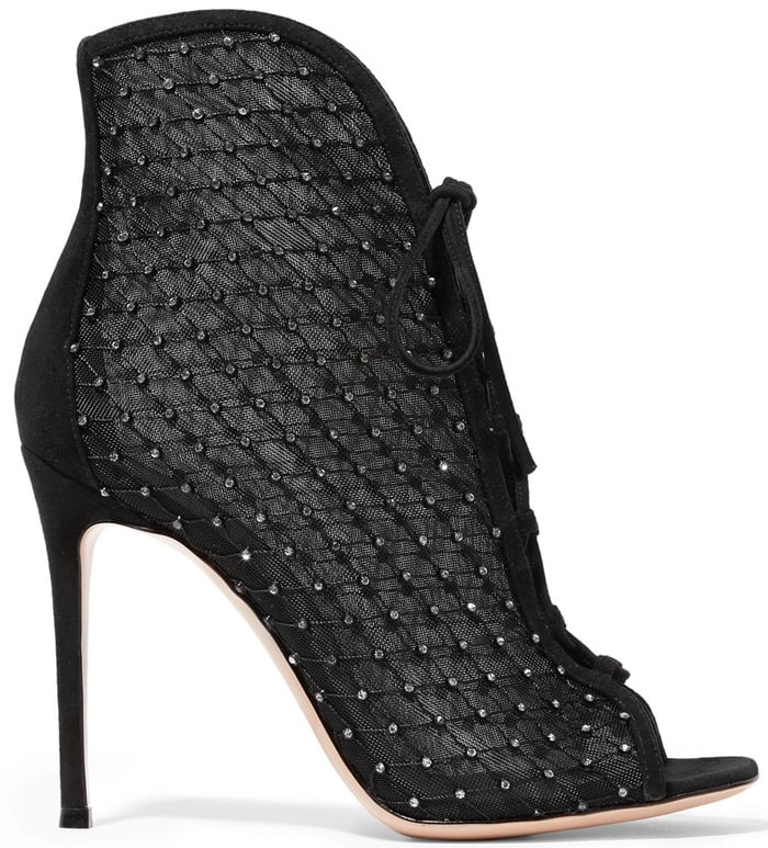 Sitting on a stiletto heel, they lace up at the front and are framed with plush suede