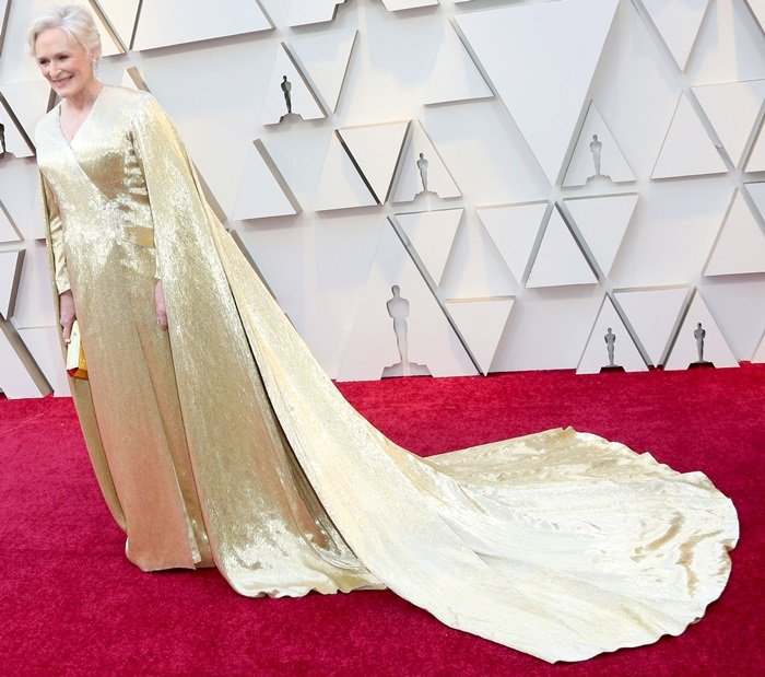 Glenn Close's gold gown was made with the assistance of more than 40 skilled craftsmen