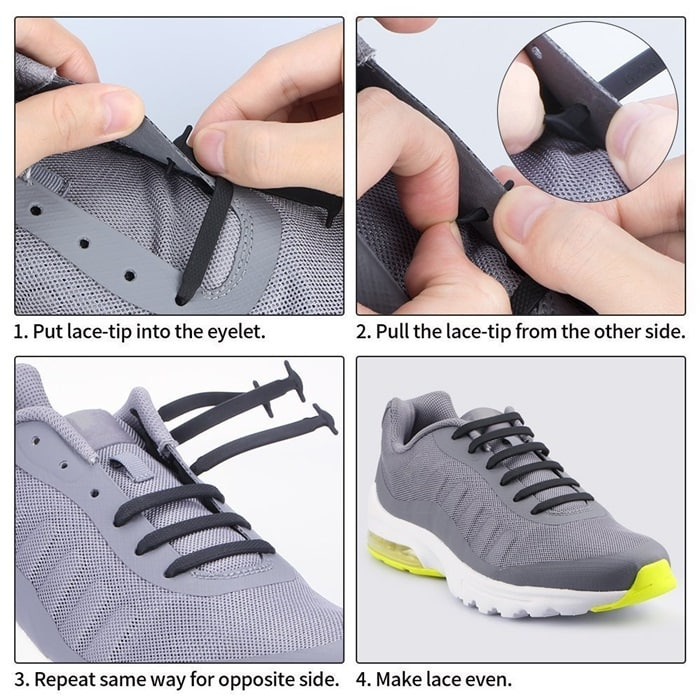 These waterproof silicone flat elastic laces come with a thin metal tube to help install the lace through the lace holes