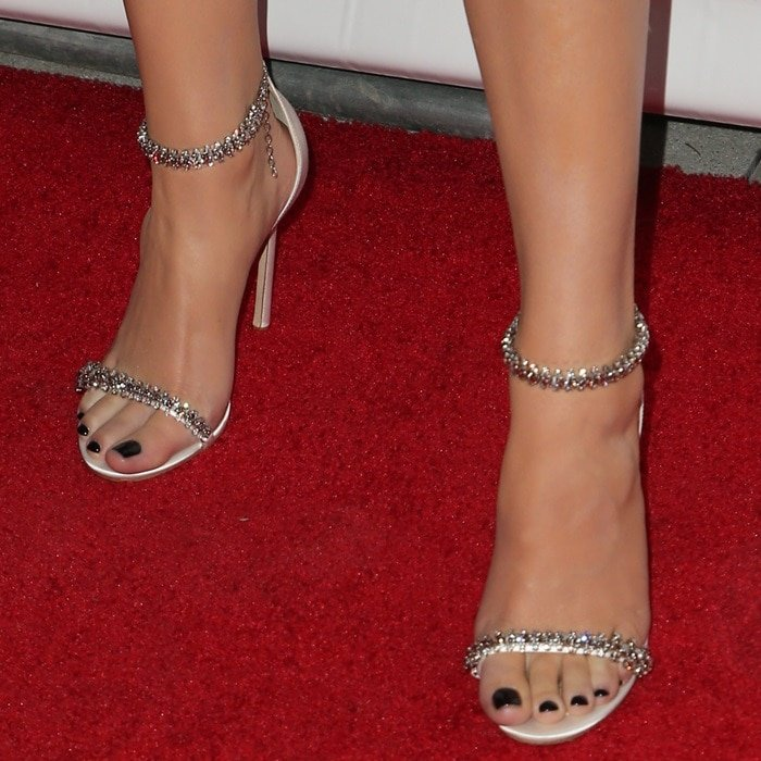 Hailee Steinfeld's sexy feet in crystal-embellished sandals by Jimmy Choo