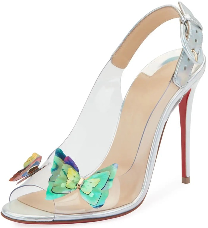 Christian Louboutin Ilcepoze pump in clear vinyl and Specchio laser leather