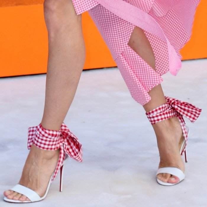 Jacqui Ainsley's sexy feet in scarf sandals by Christian Louboutin