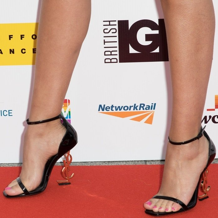 Jade Thirlwall's sexy feet in Saint Laurent logo shoes