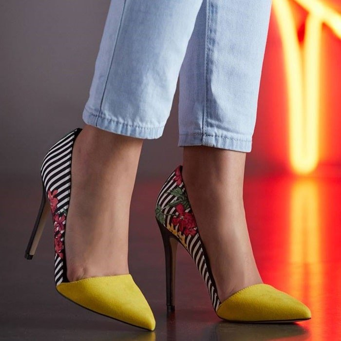 A slip on colorblock pointed toe pump with a stiletto heel