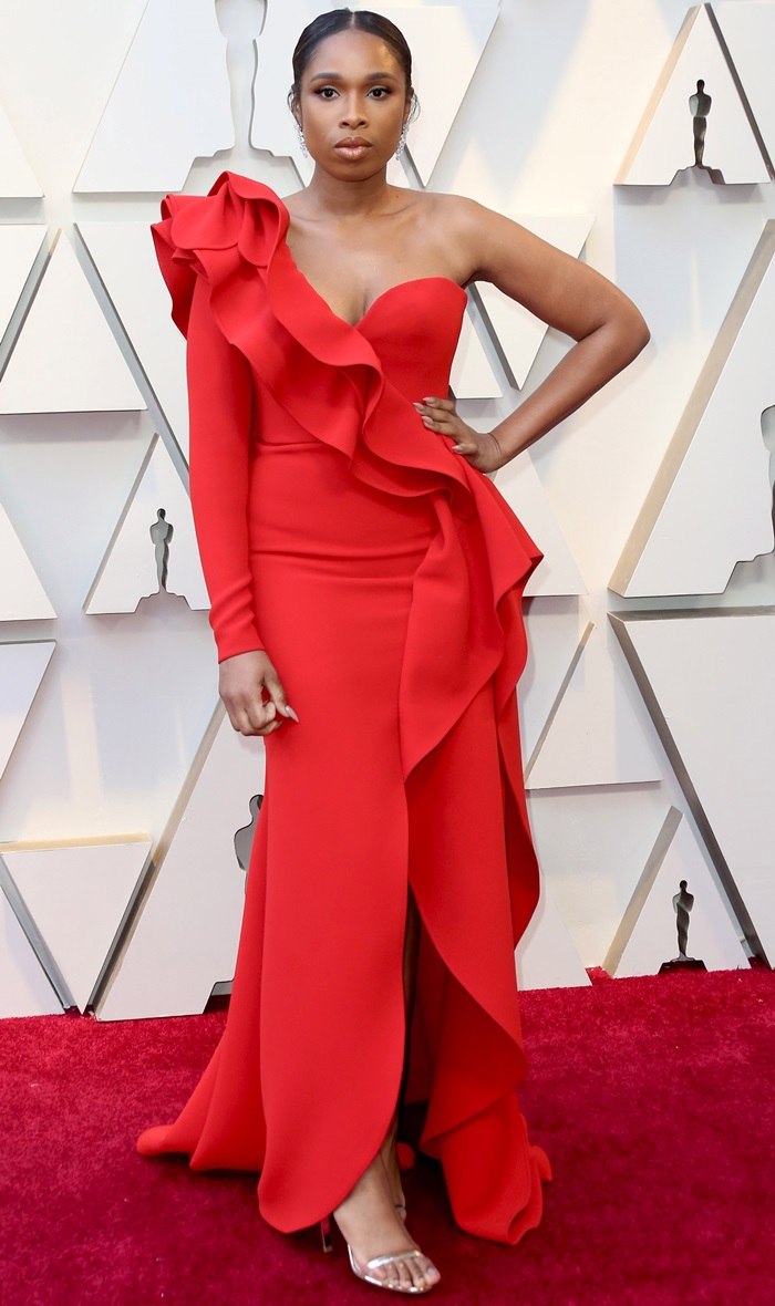 Jennifer Hudson donned a scarlet Elie Saab dress at the 2019 Academy Awards at the Dolby Theatre in Los Angeles on February 24, 2019