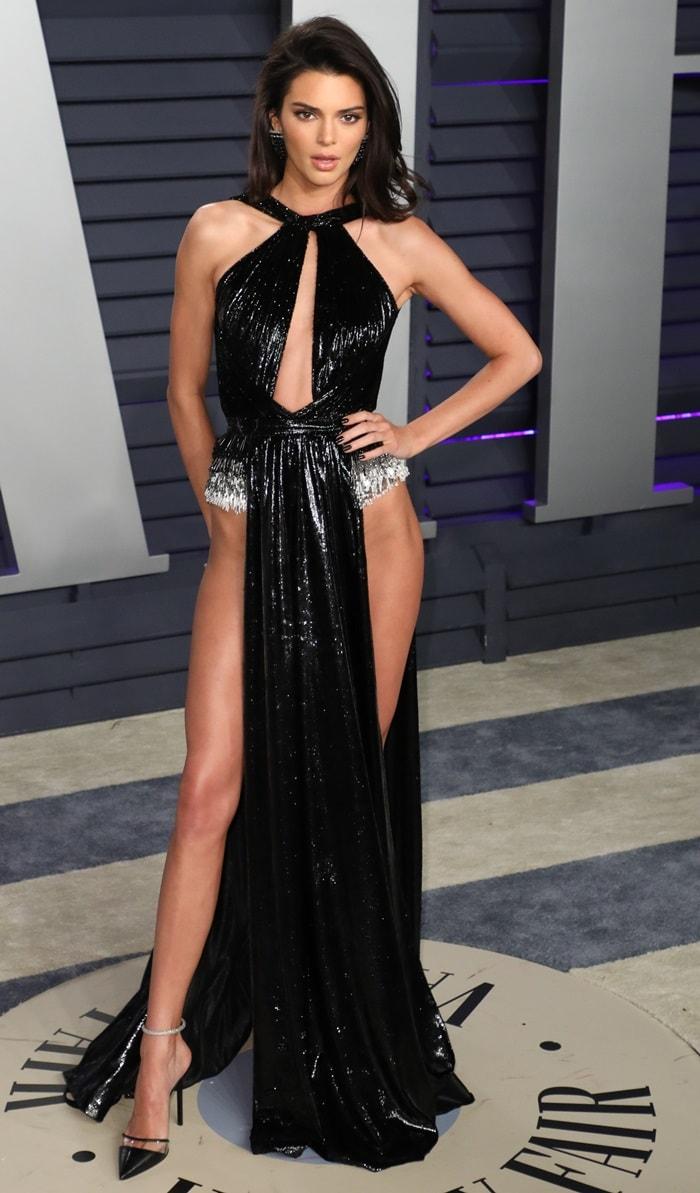 Kendall Jenner's black lurex velvet gown from Lebanese American fashion designer Rami Kadi