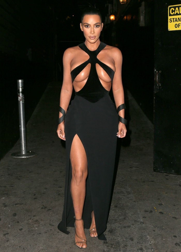 Kim Kardashian left little to the imagination in one of her most revealing dresses to date