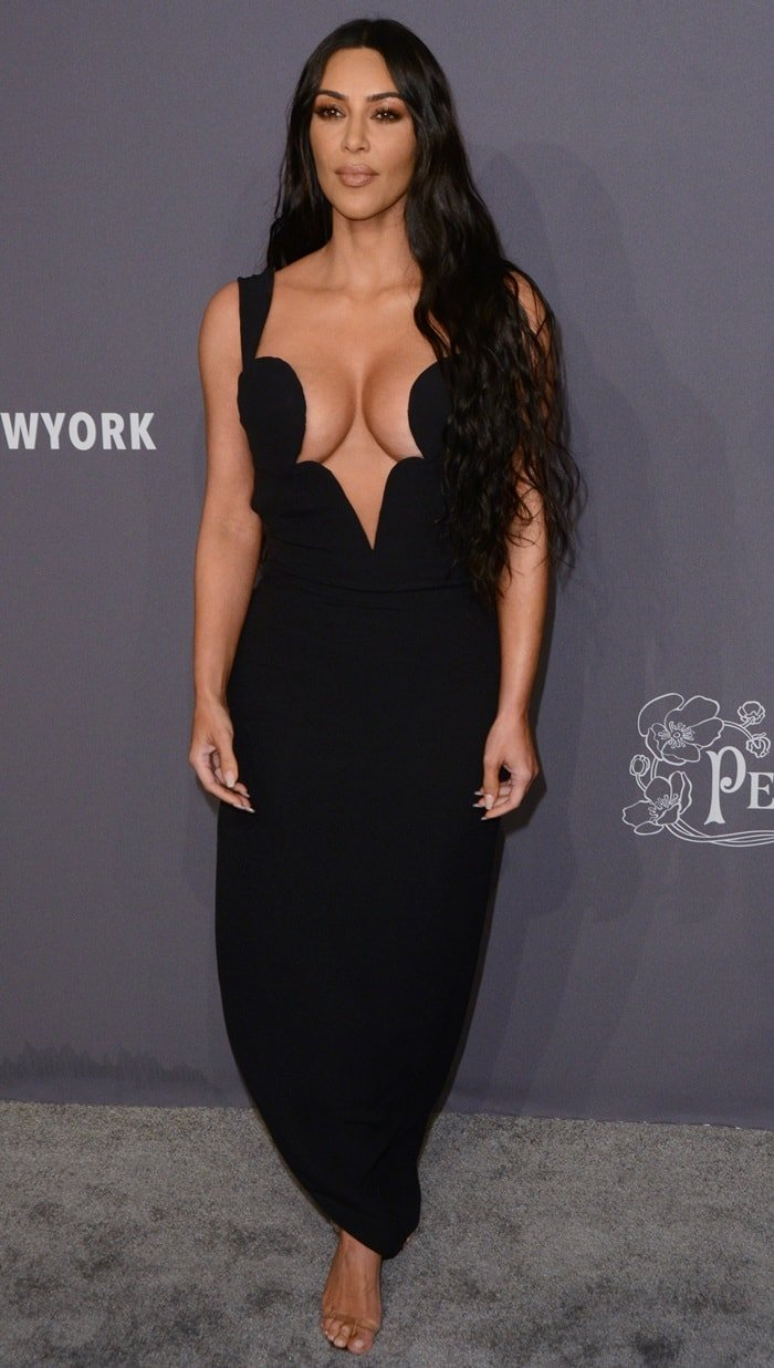 Kim Kardashian secured her big boobs with plenty of fashion tape