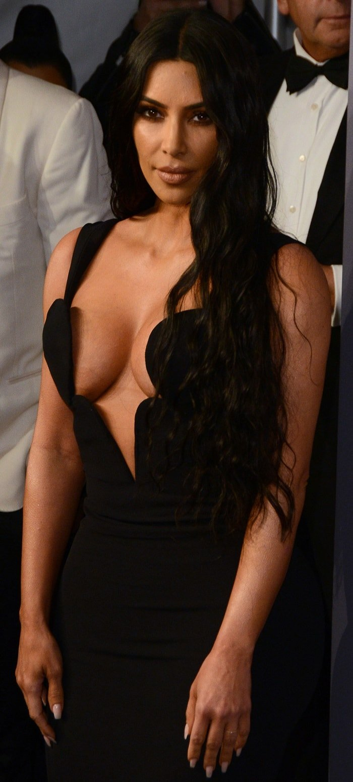 Kim Kardashian's vintage Versace gown with a revealing low-cut bodice