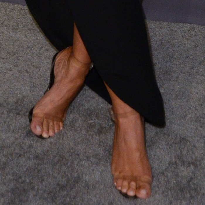 Kim Kardashian's naked feet in barely-there PVC sandals
