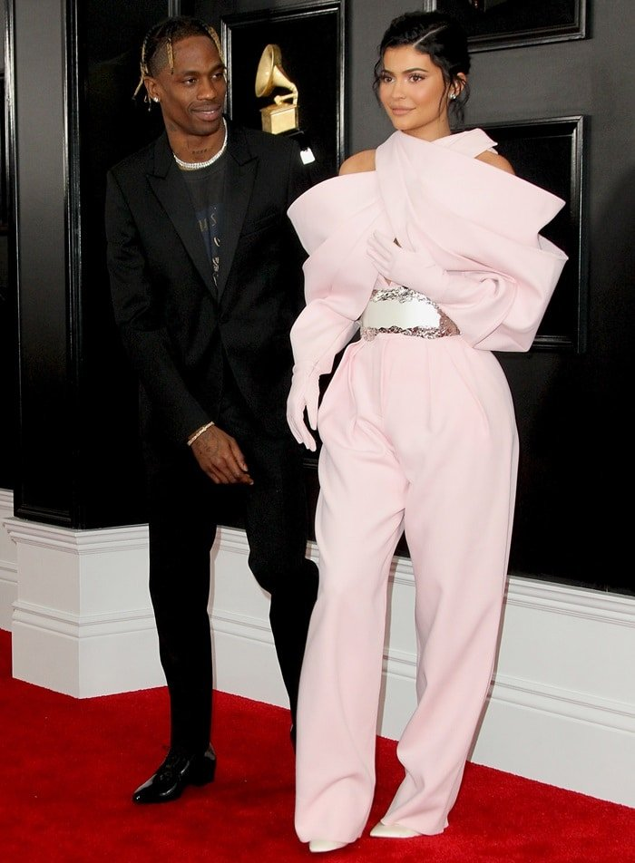 Kylie Jenner with her boyfriend Travis Scott on the red carpet at the 2019 Grammy Awards