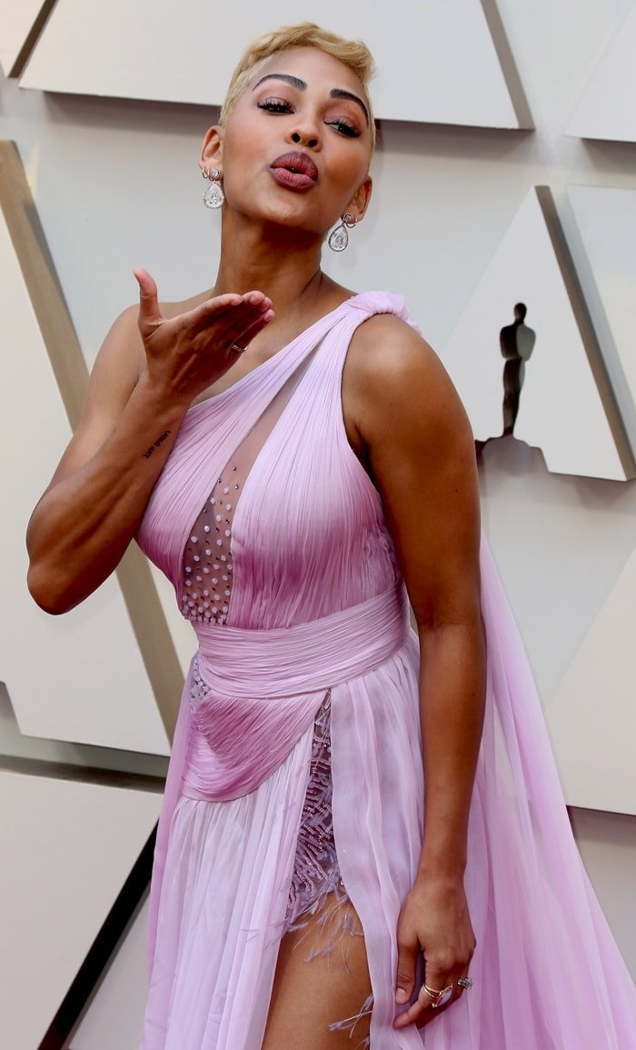 Meagan Good's Georges Chakra Spring 2019 Couture dress features revealing cutouts
