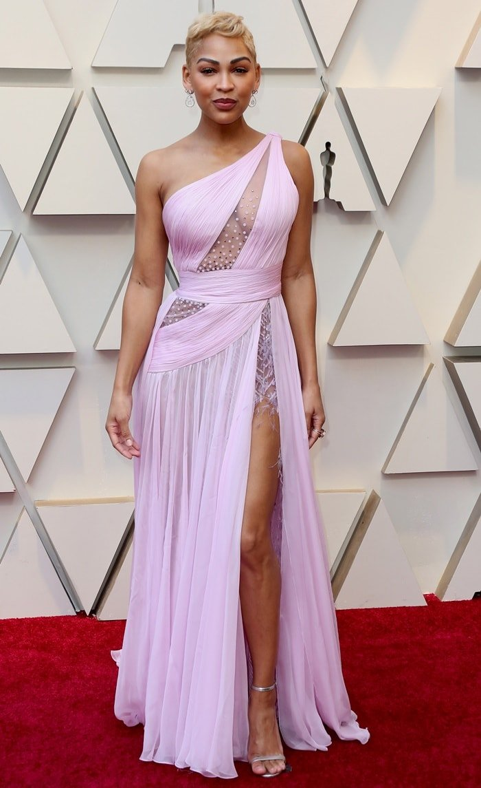 Meagan Good's gown looked like it had been ripped up a seam in order to create the split showcasing her incredible legs