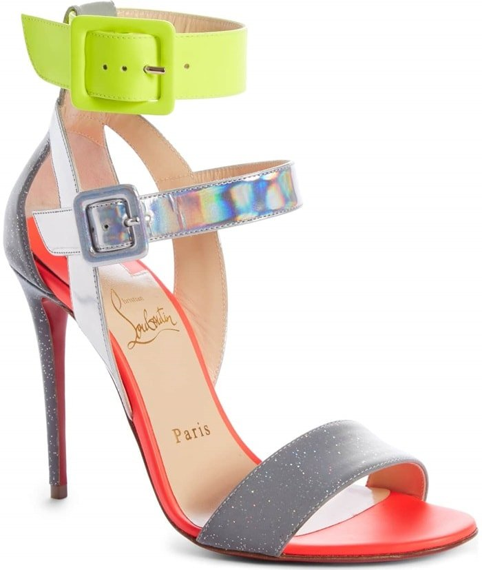 Silver Multi Multipot 100 Leather Red Sole Sandals
