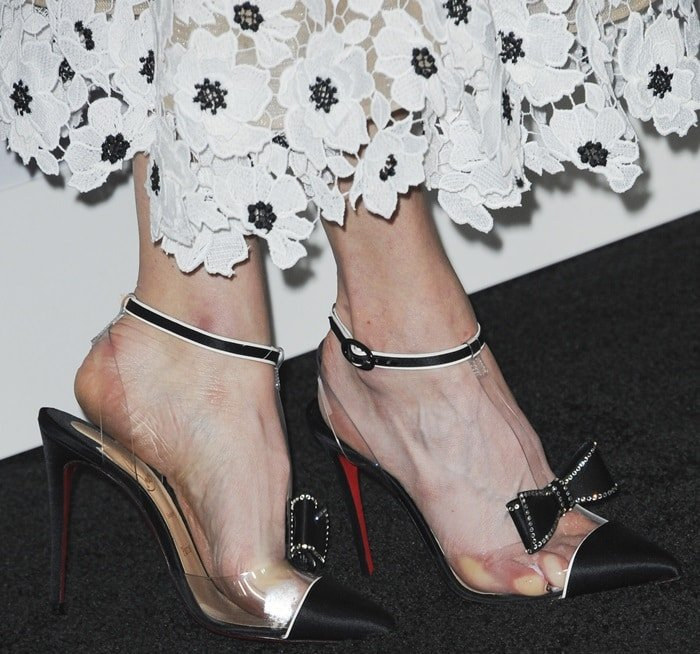 Natalia Dyer's sweaty feet in Naked Bow clear shoes