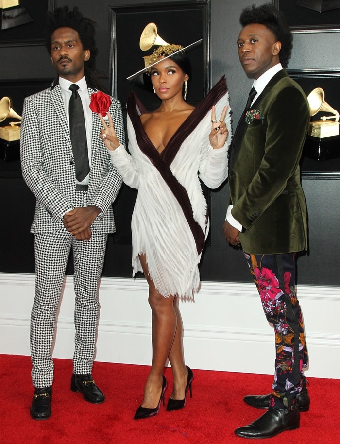 "Janelle Monáe and her two producer-collaborators Chuck Lightning and Nate ""Rocket"" Wonder at the 2019 Grammy Awards"