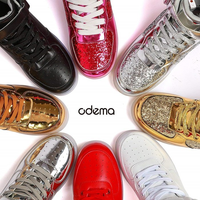 Designed with fashion elements, these Led sneakers are available in red, black, white, silver, and gold