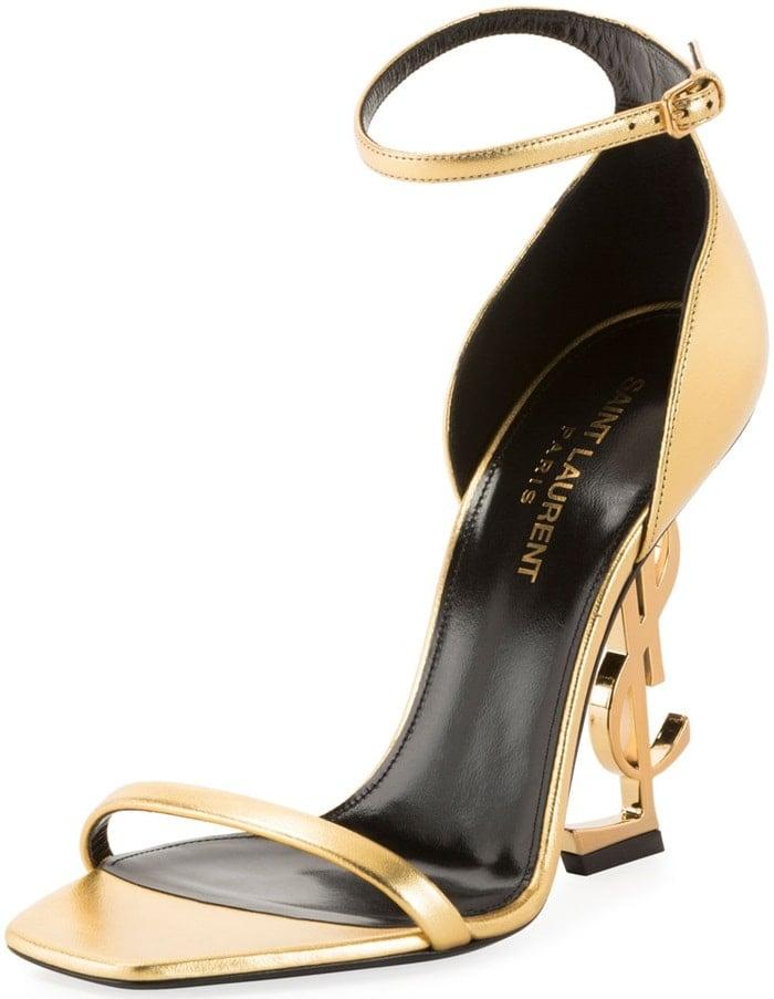 Gold Opyum YSL Logo-Heel Sandals