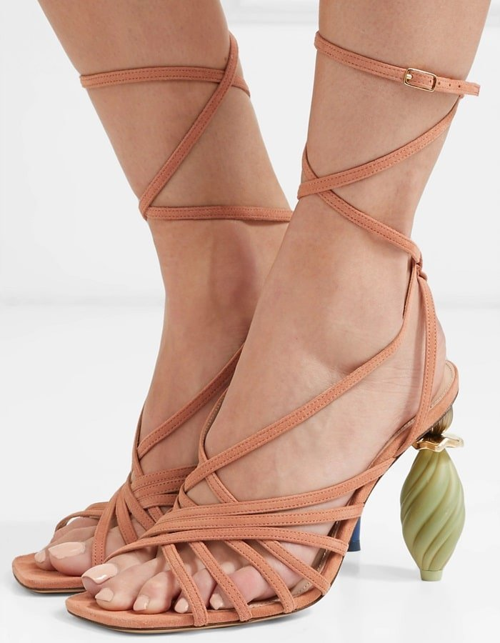 These Pisa sandals are set on mismatched stacked heels referencing extravagant jewelry
