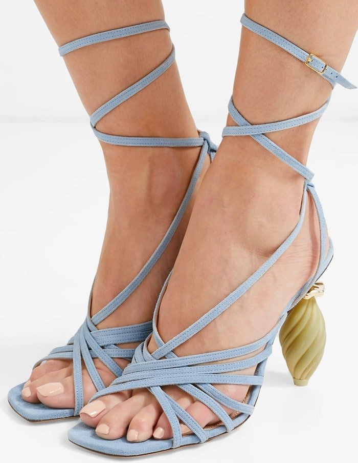 Worn on the Spring '19 runway, these sandals are made from supple sky-blue suede lined with leather for comfort