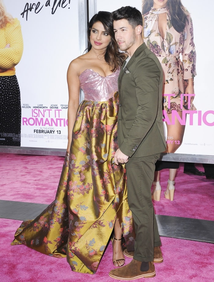 Nick Jonas and Priyanka Chopra Jonas at the premiere of Isn't It Romantic at The Theatre at Ace Hotel in Los Angeles on February 11, 2019