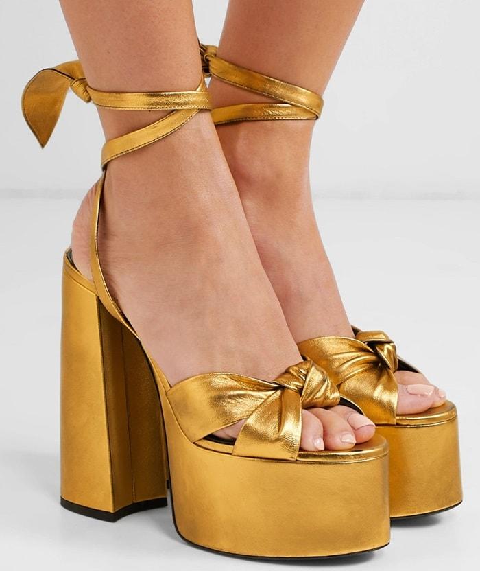 Gold Paige Metallic Leather Platform Sandals