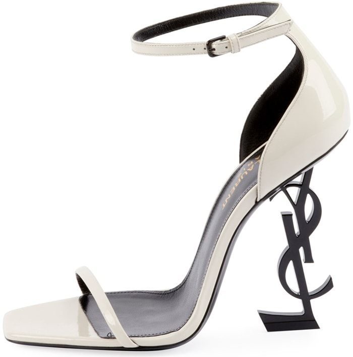 White Opyum YSL Logo-Heel Sandals with Black Hardware
