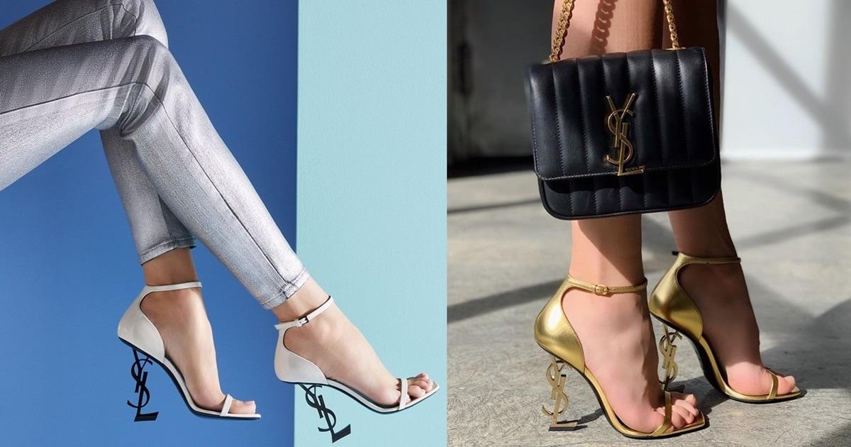 Vicky Chain Crossbody Bag And Opyum Ysl Logo Heel Sandals