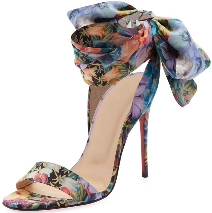 f1b9151e9c7 Christian Louboutin s multicolored floral crepe Sandale Du Desert sandals  are styled with self-ties that