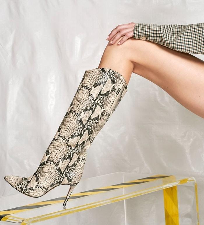 Crocodile-Embossed Leather Maryana Boots