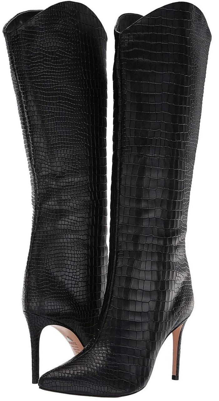 Snake-Embossed Leather Maryana Boots